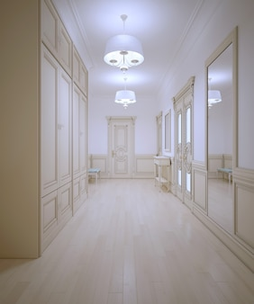 Hallway provence style with light wooden parquet and large wardrobe with white walls with molding of cream color interior.