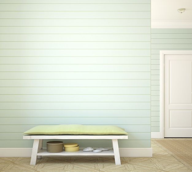 Hallway with bench near empty green wall. 3d render.