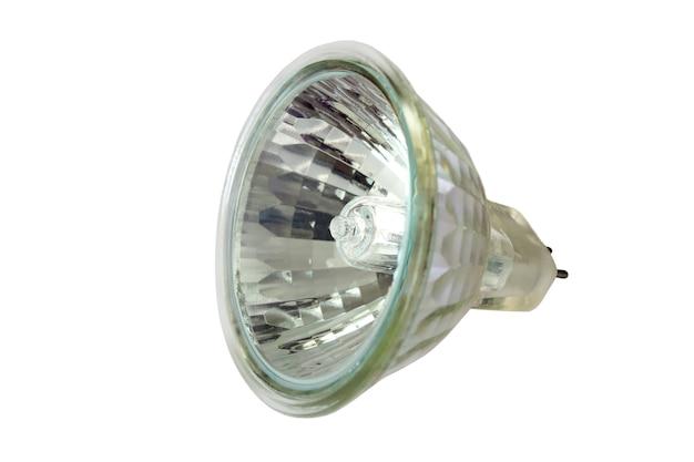 흰색 배경에 고립 된 램프를 켜기위한 할로겐 램프.