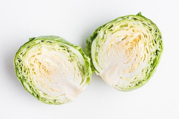 Halvened head of cabbage