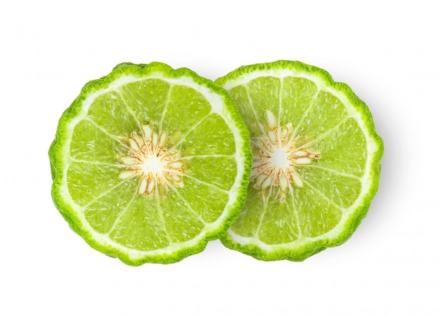 Halves of bergamot with seeds isolated
