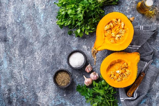 Halves of hokkaido pumpkin with spices