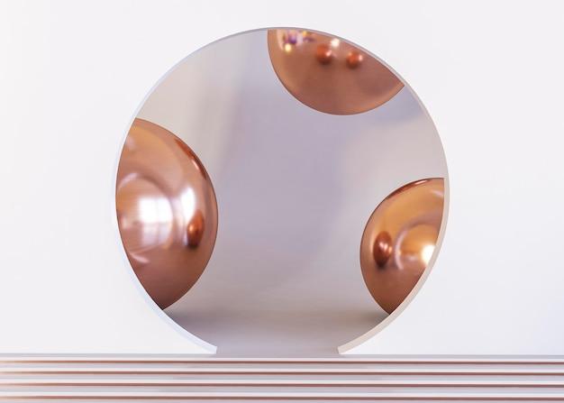 金色のボールの半分の幾何学的形状の背景