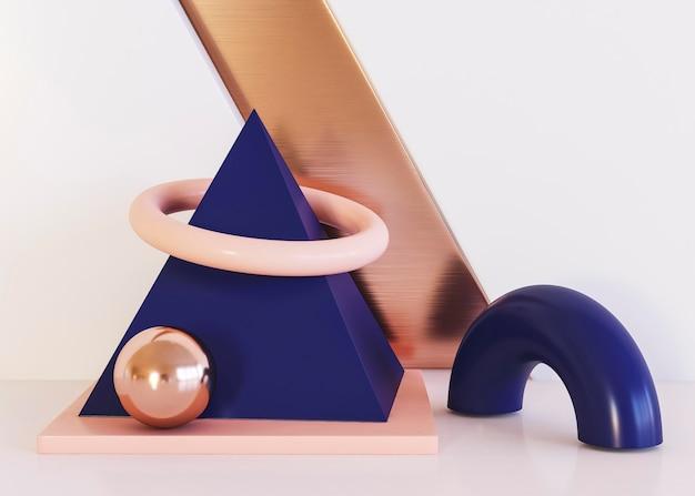 リングと幾何学的形状の背景の半分