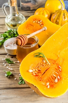 Halves of raw pumpkin butternut squash for cooking