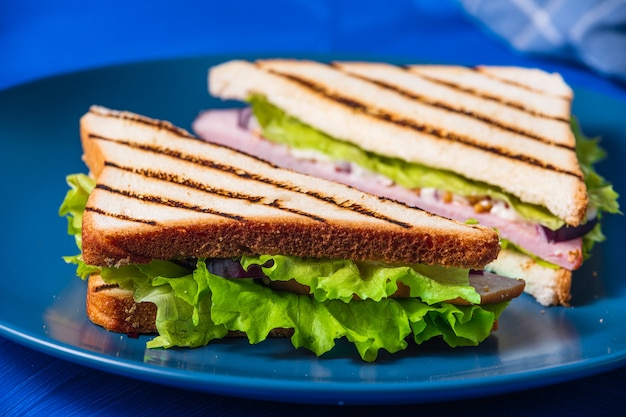 青にハムと緑のサンドイッチ