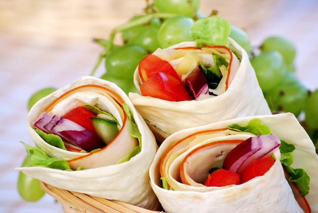 Ham and cheese wrap sandwiches