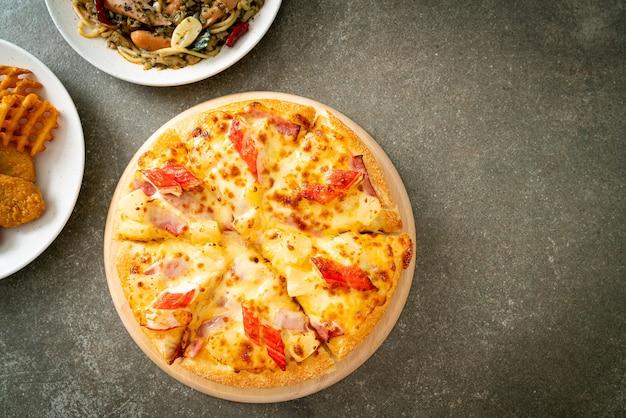Ham and crab stick pizza or hawaiian pizza