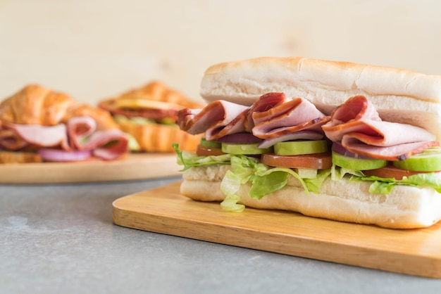 Ham and salad submarine sandwich