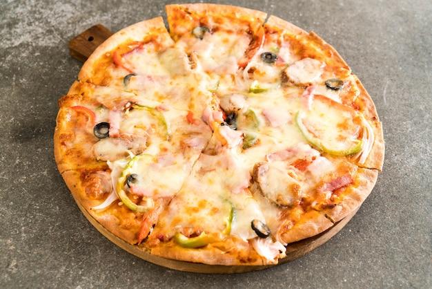 Ham and sausage pizza