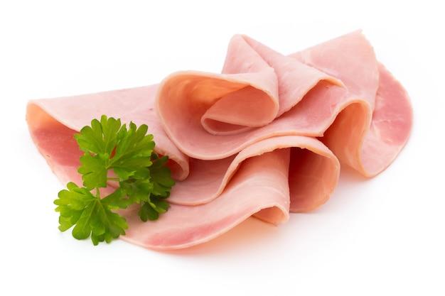 Ham sliced sausage isolated on white background.