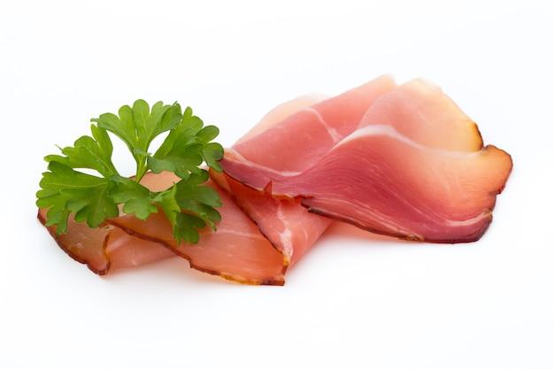 Ham sliced sausage isolated on white background