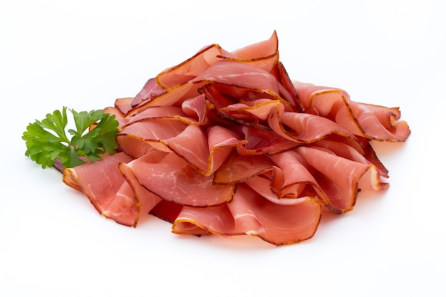 Ham sliced sausage isolated on white surface.