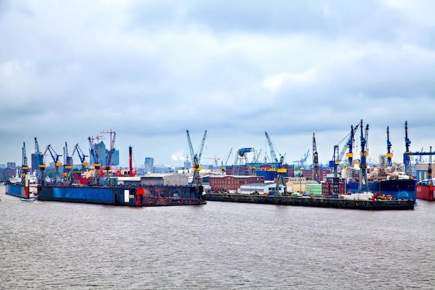 Hamburg harbor on river elbe, germany