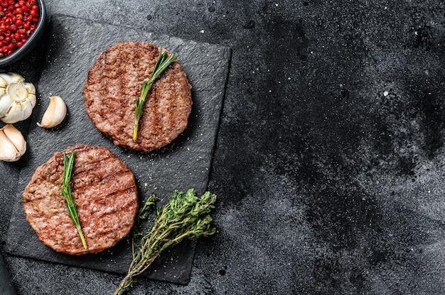 Hamburger beef patties top view