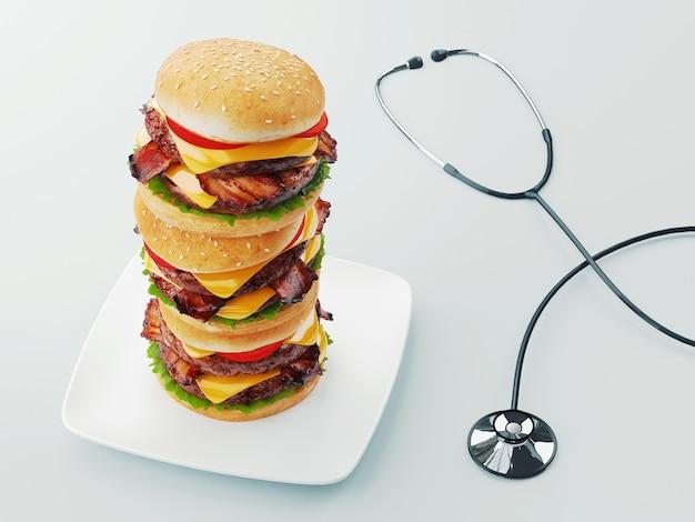 ハンバーガー。ファーストフードダイエットのコンセプト、強迫的な過食とダイエット。 3dレンダリングの概念