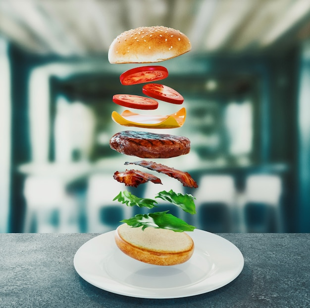 햄버거. 패스트 푸드 다이어트 개념, 강박 과식 및 다이어트. 3d 렌더링 개념