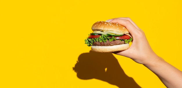 Hamburger in front of yellow background