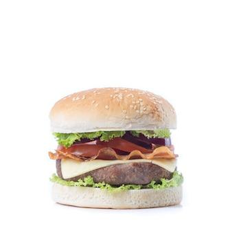 Гамбургер, изолированные на белом фоне.