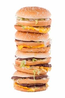 햄버거 흰색 배경에 고립입니다.