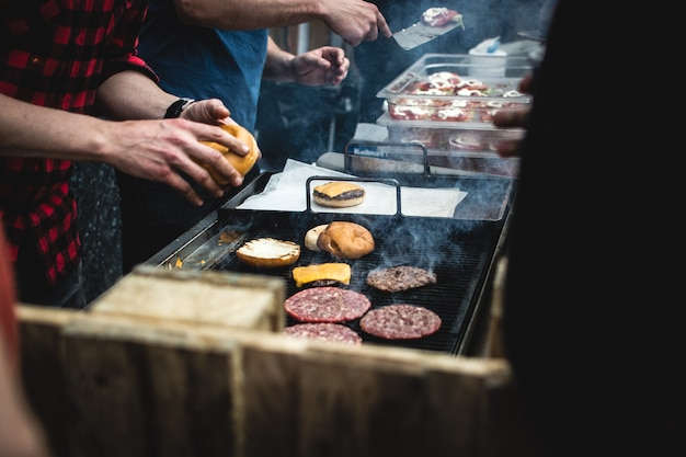 Hamburger meat on a grill