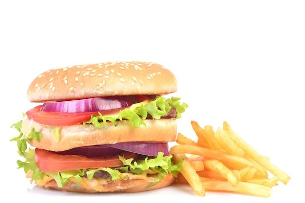 흰색 바탕에 햄버거