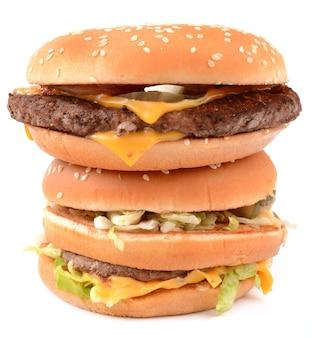 白い背景の上のハンバーガー