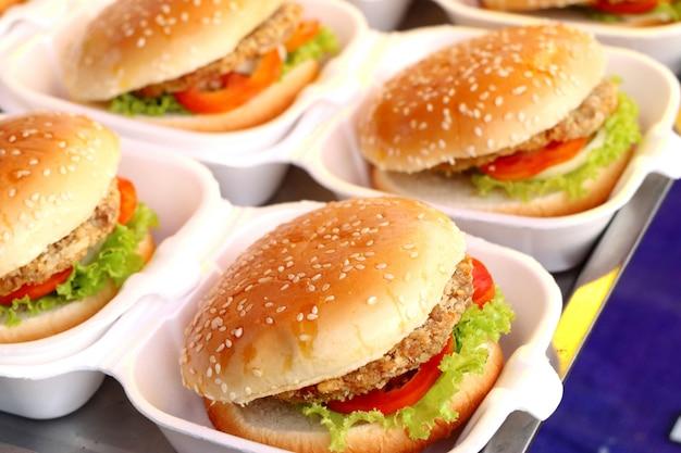 Hamburger pork at street food