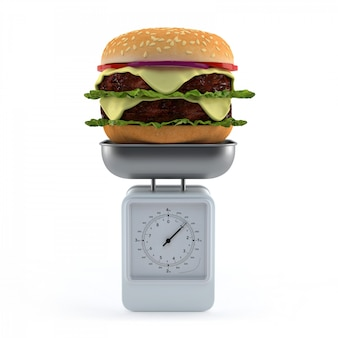 Hamburger on weighing scale