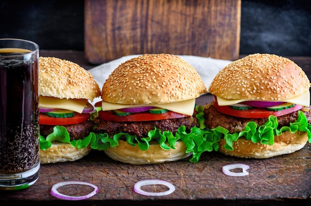 Hamburger with beef, onion, tomato, lettuce, cheese and spices