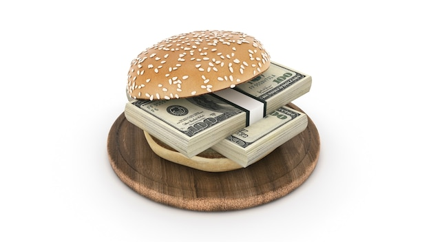 Гамбургер с долларовыми банкнотами 3d-рендеринга
