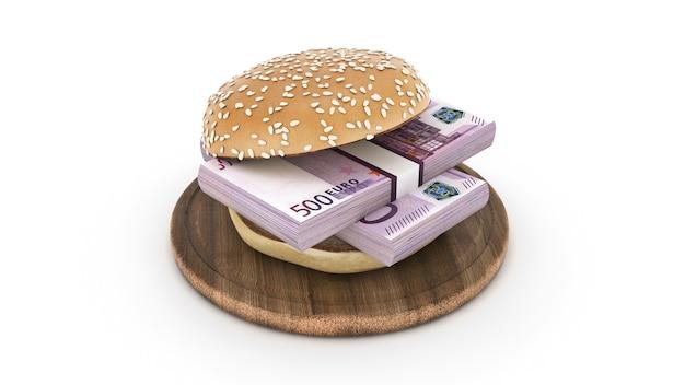 Гамбургер с банкнотами евро 3d-рендеринга
