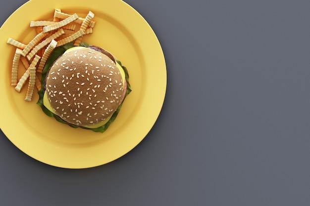 灰色の背景のプレートにフライドポテトとハンバーガー。 3dレンダリング