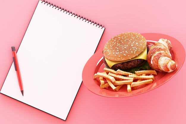Hamburger with french fries in the plate and clipboard on pink 3d render