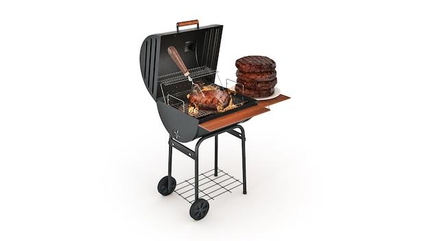 Гамбургеры готовят на гриле с пламенем 3d-рендеринга
