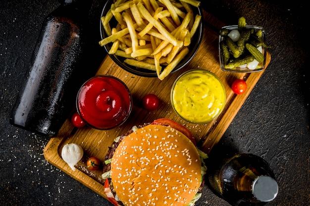 Hamburgers and party snacks