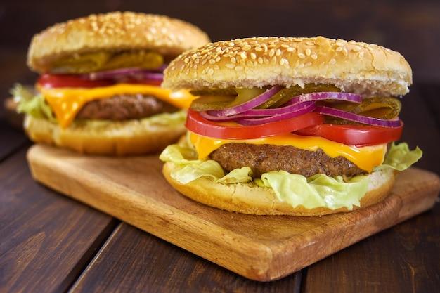 Hamburgers in rustic style