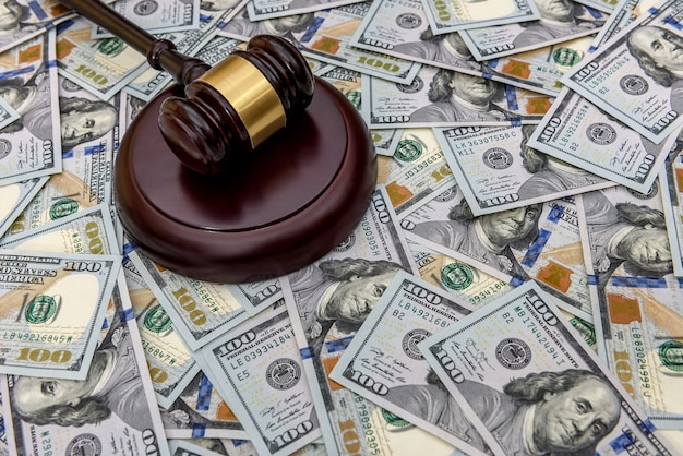 Hammer judge against a large amount of dollars