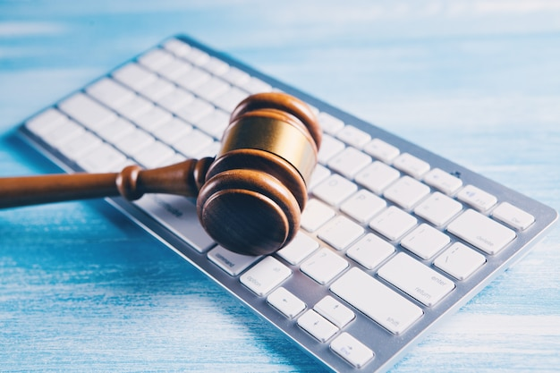 Hammer on the keyboard. cybercrime