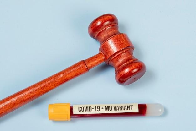 치료의 법적 수단을 상징하는 의학과 관련된 정의의 망치