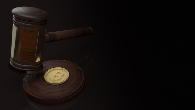 The hammer wood and bitcoin for cryptocurrency law content 3d rendering
