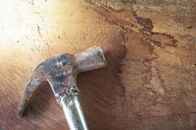 Hammer on the wooden floor
