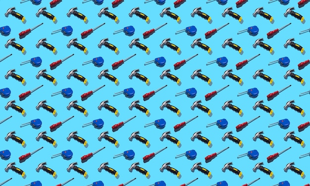 青い背景、パターン、ハードシャドウのハンマー、ドライバー、巻尺。建設ツール、修理。デザインの背景。