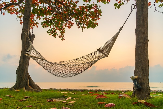 Hammock on the beach and sea
