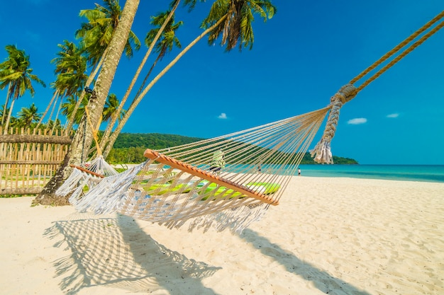 Hammock  with beautiful nature tropical beach and sea with coconut palm tree