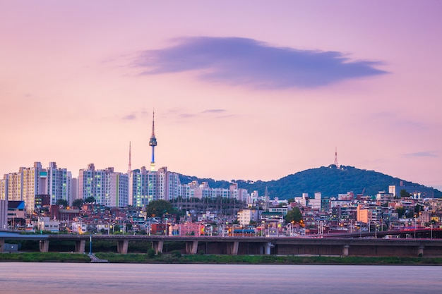 Han river in the evening and n seoul tower behind, seoul, south korea.