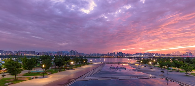 Han river seoul city with seoul tower at.yeouido in seoul, south korea.