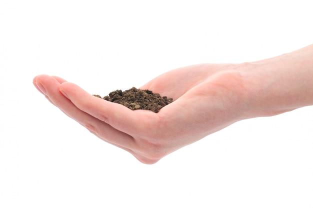 손과 검은 흙 토양의 더미 프리미엄 사진