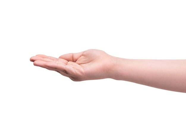 手は白い壁に隔離された施しを求めます。貧困、破産、物乞いの概念。ジェスチャーとボディーランゲージ。