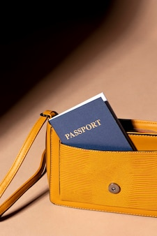 Hand bag with passport